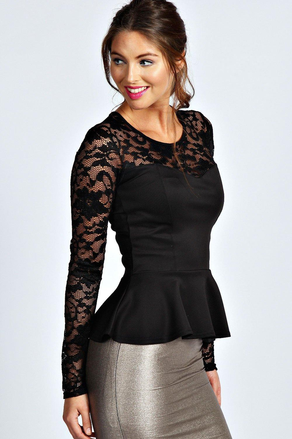 Lace Long Sleeve Peplum Top black