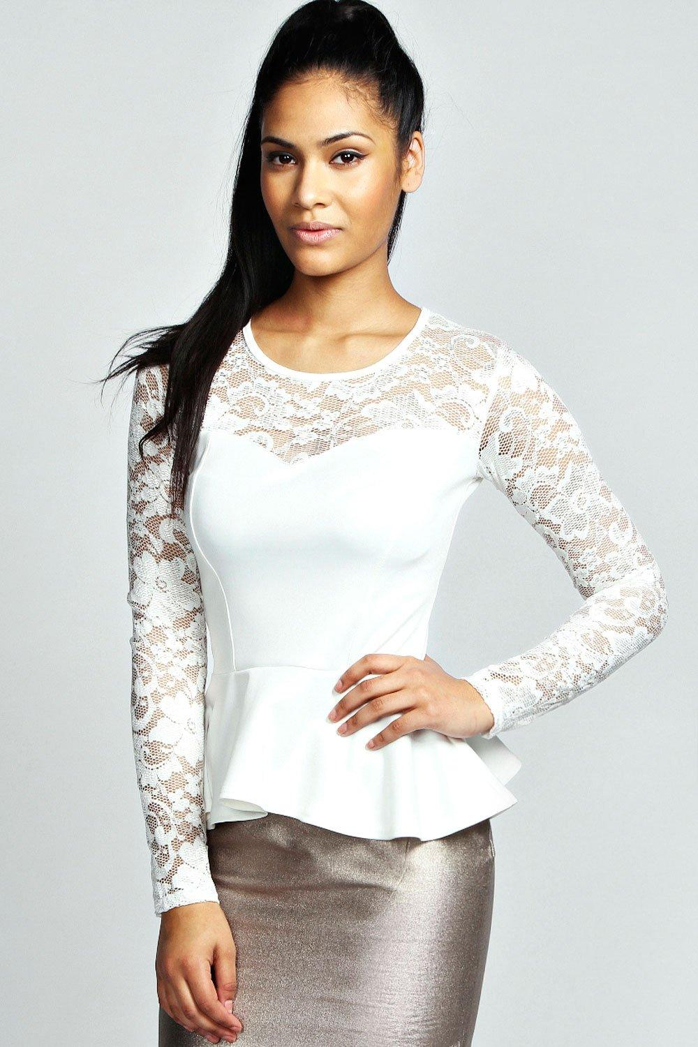 Lace Long Sleeve Peplum Top cream