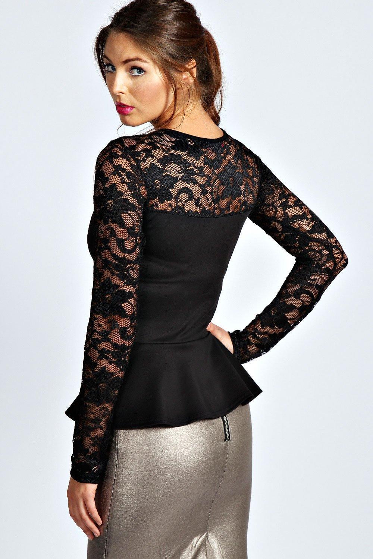 Boohoo Womens Ladies Alannah Lace Long Sleeve Peplum Top