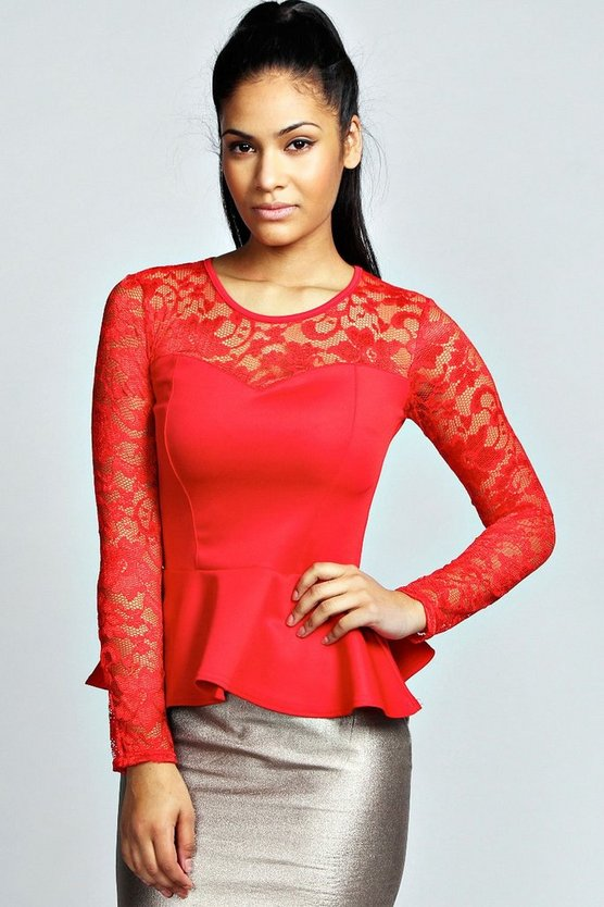 Alannah Lace Long Sleeve Peplum Top