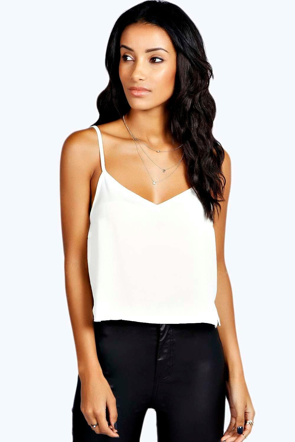 V Neck Crop Woven Cami ivory