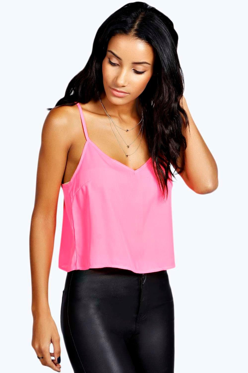 V Neck Crop Woven Cami pink