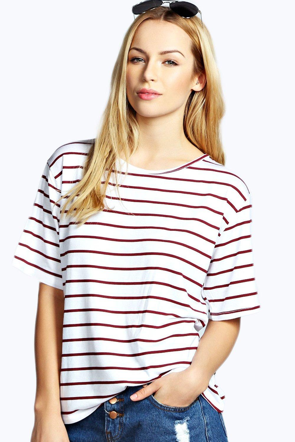 Amelia Basic Stripe Oversized Tee