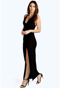Sophie Plunge Neck Front Split Maxi Dress