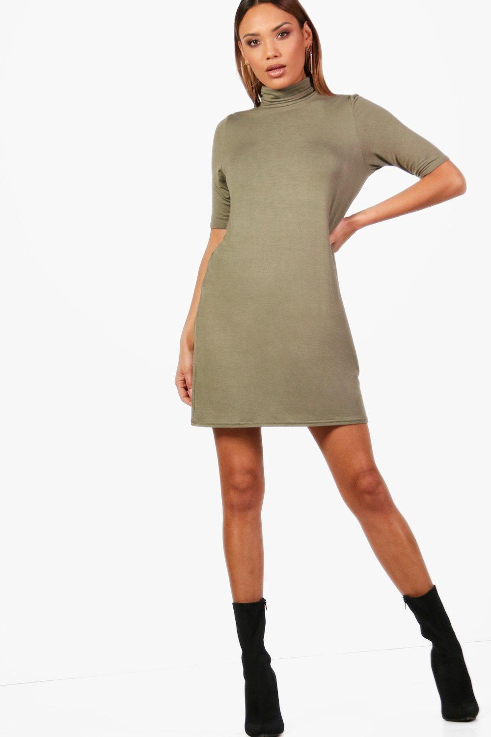 High Neck T Shirt Dress  khaki