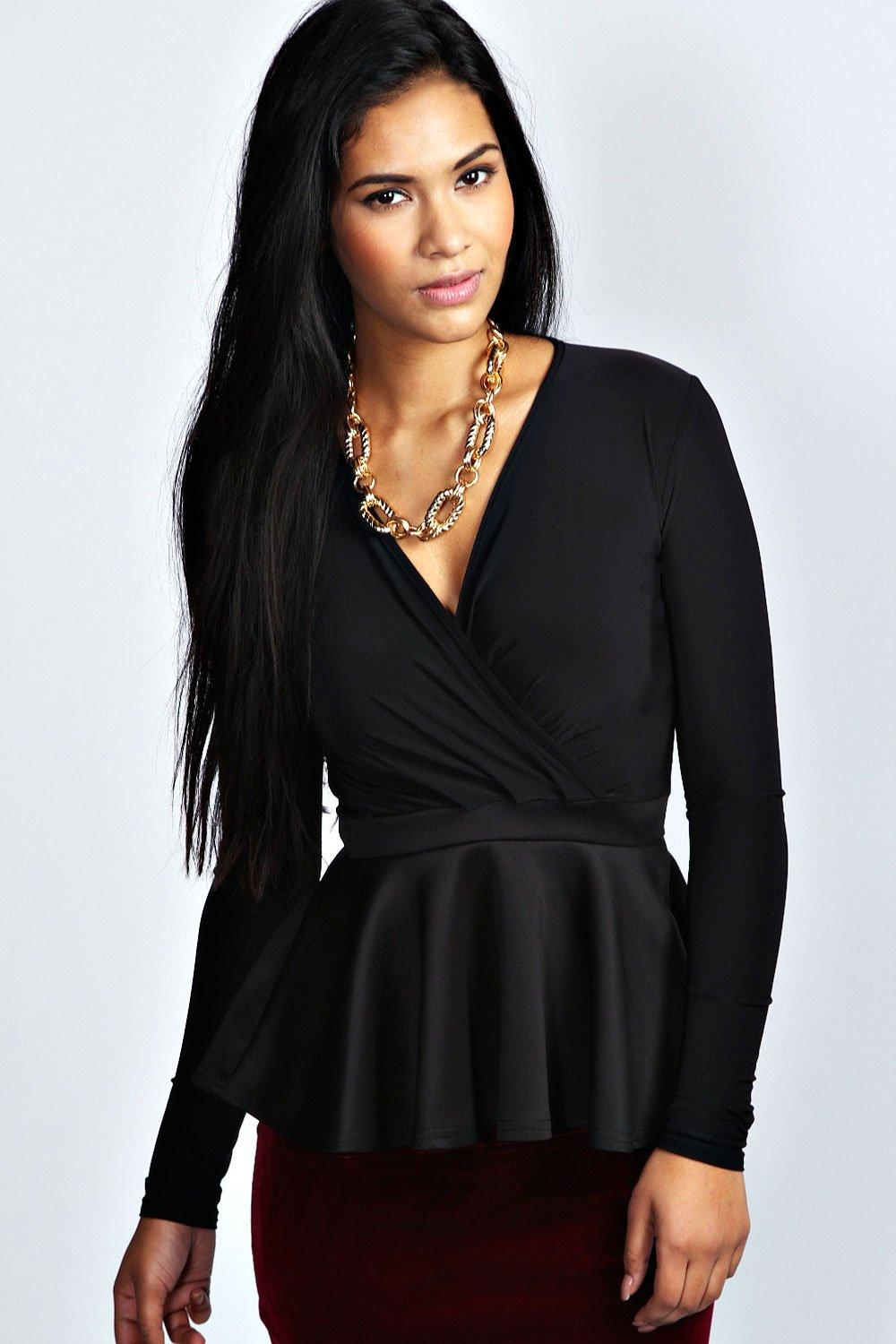 Wrap Over Peplum Top black
