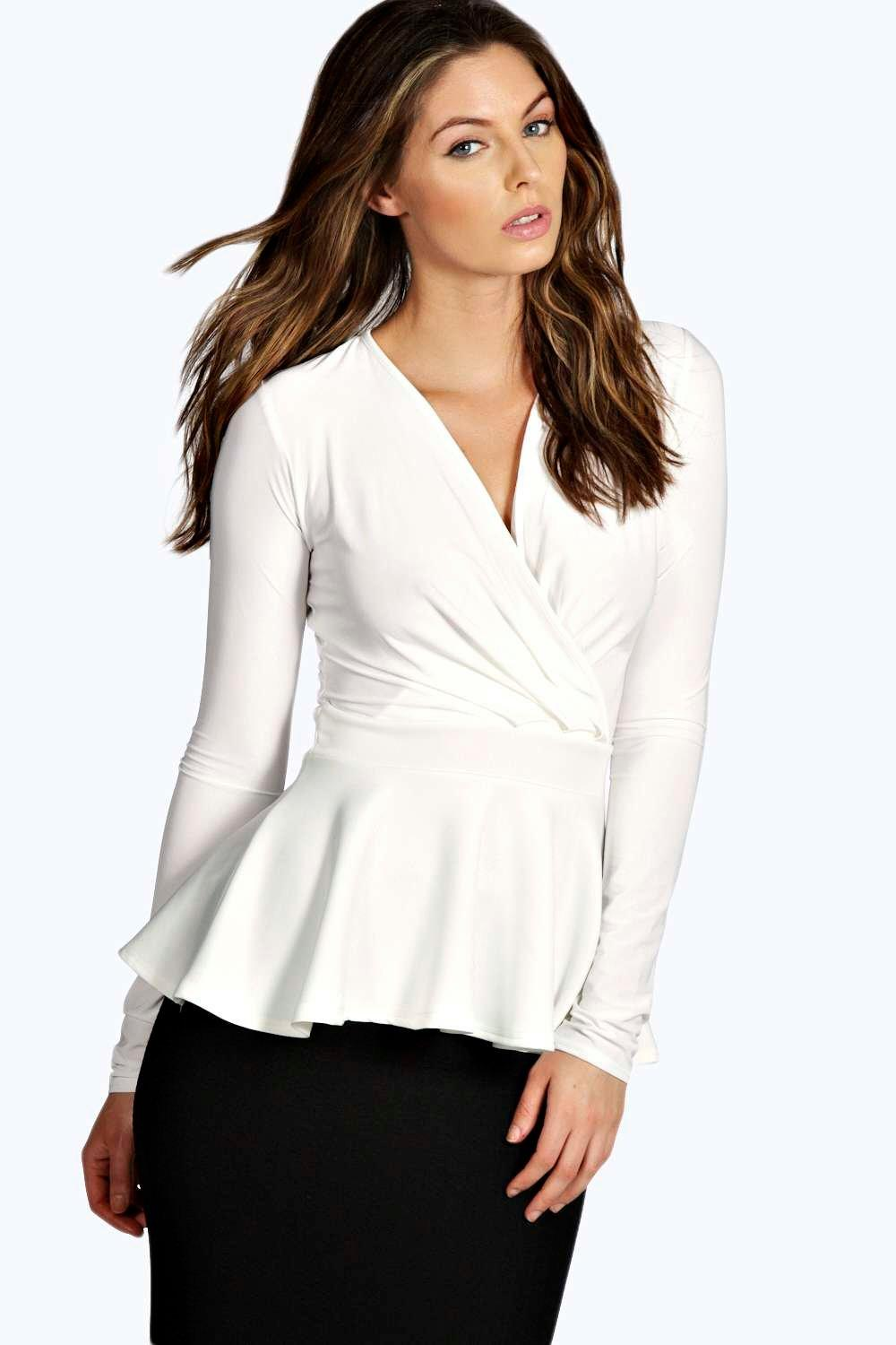 Wrap Over Peplum Top cream