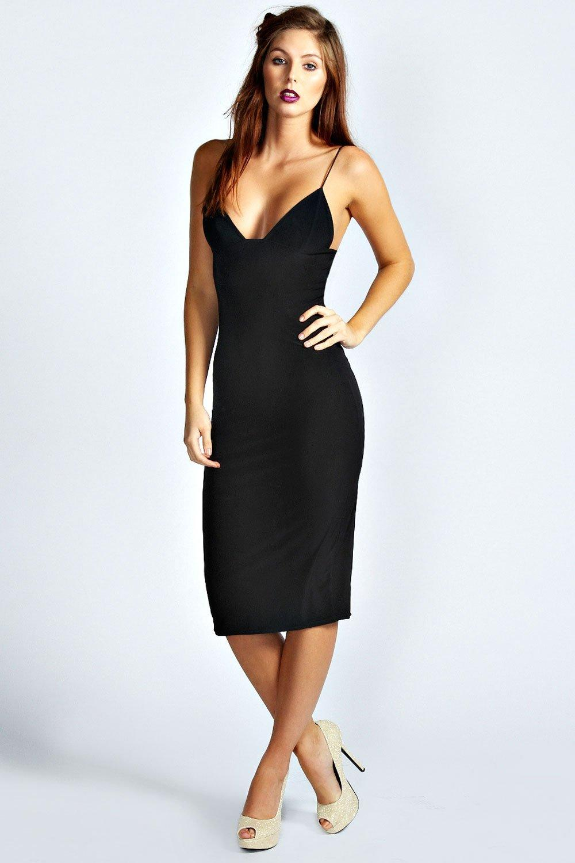Slinky Bodycon Midi Dress - black