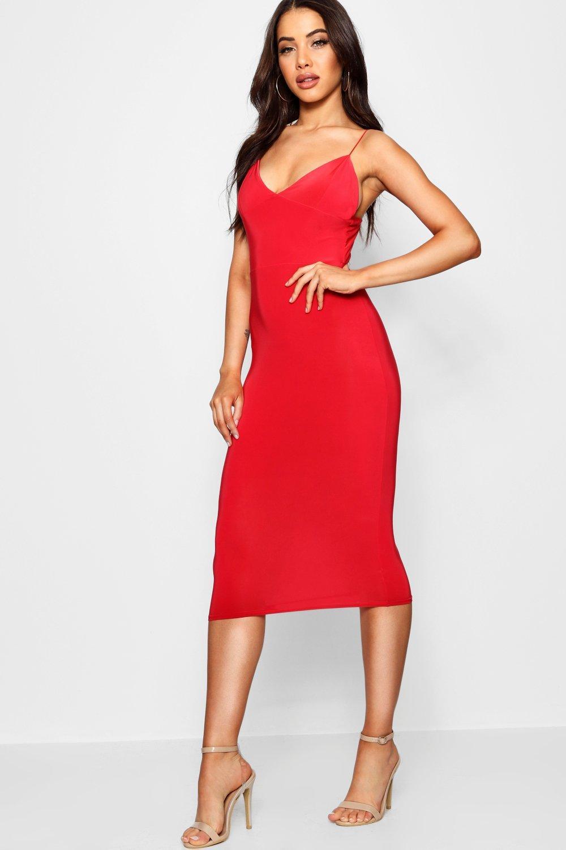 Slinky Bodycon Midi Dress red
