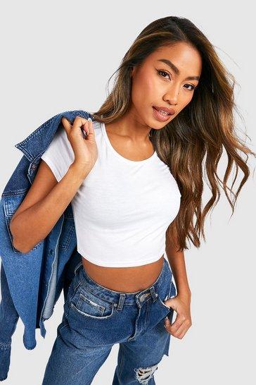 White Basic Short Sleeve Crop Top
