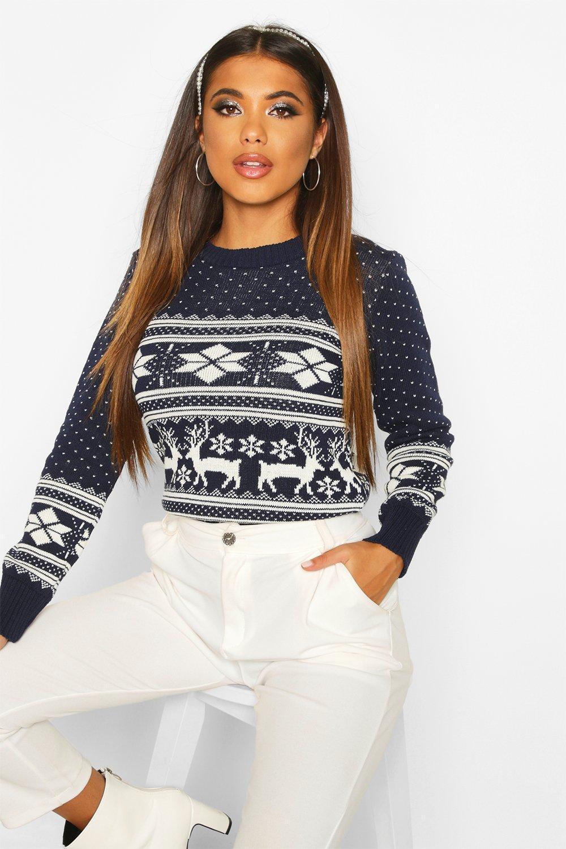 Womens Weihnachtspullover mit Rentier- und Fairisle-Muster - Marineblau - m/l, Marineblau - Boohoo.com