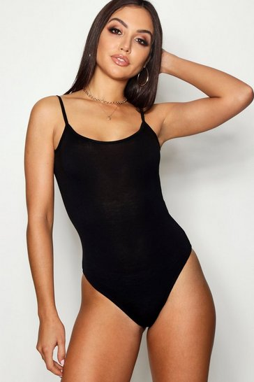 Black Basic Spaghetti Strap Bodysuit
