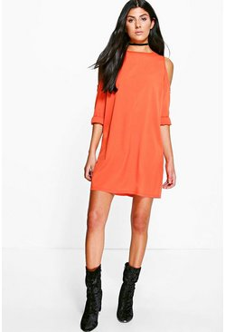 Jen Solid Colour Open Shoulder Shift Dress