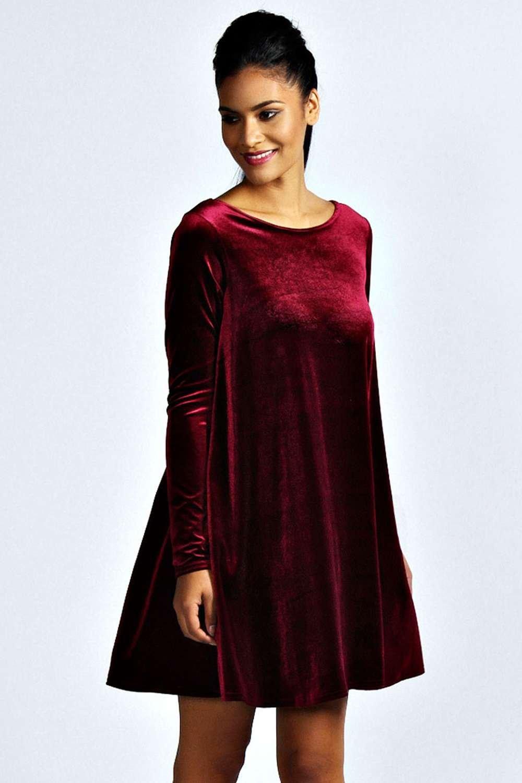 Boohoo Womens Tabatha Velvet Long Sleeve Swing Dress | EBay