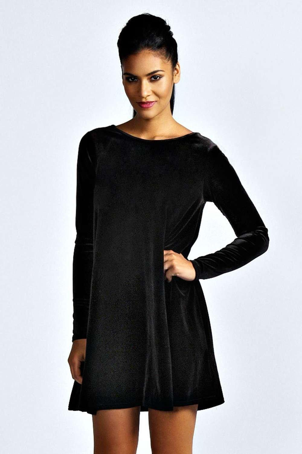 Tabatha Velvet Long Sleeve Swing Dress