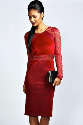 Hayley Lace And Velvet Bodycon Dress