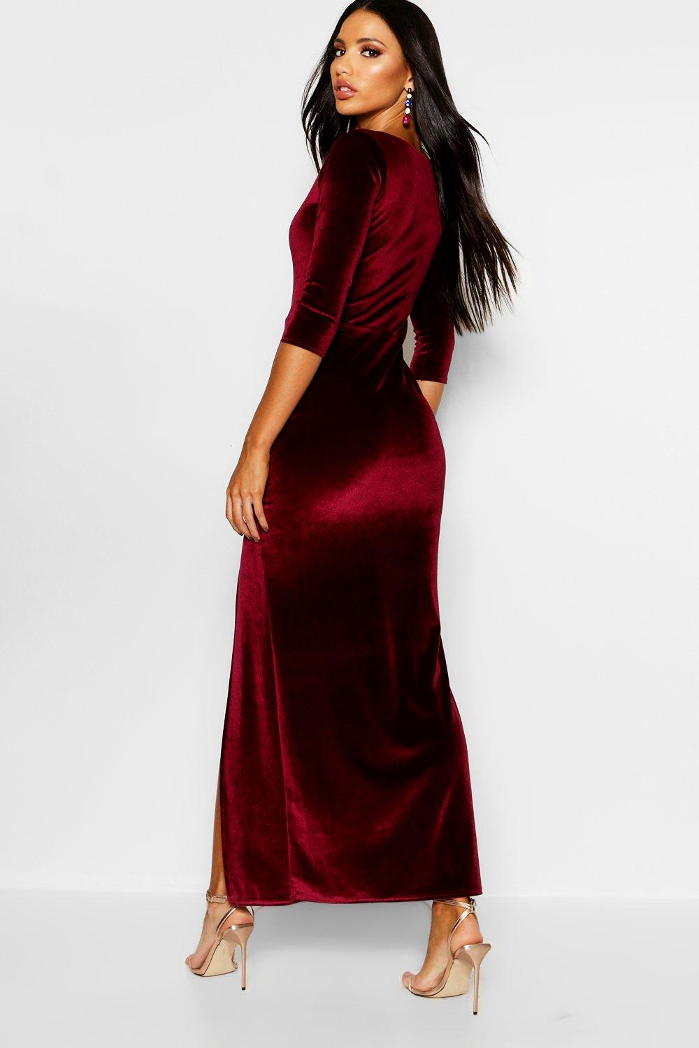 Kelly Velvet Long Sleeve Maxi Dress | Boohoo
