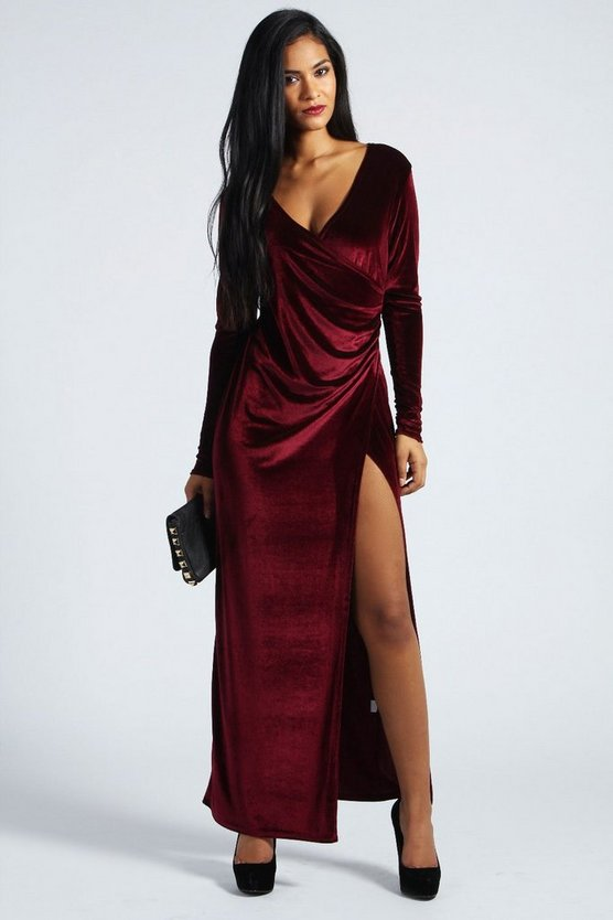 Cameron Velvet Wrap Front Maxi Dress