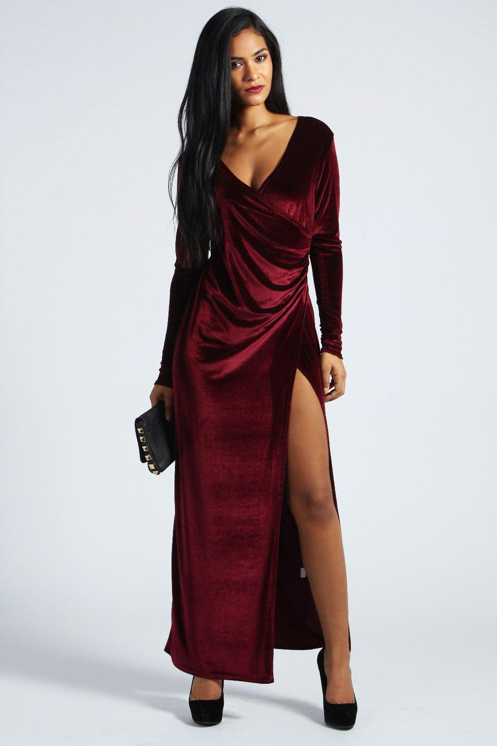 Cameron Velvet Wrap Front Maxi Dress | Boohoo