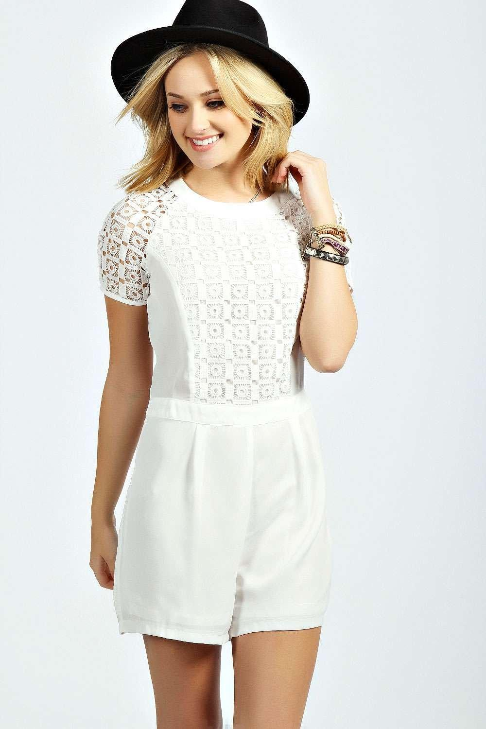 Julie Crochet Insert Short Sleeve Playsuit