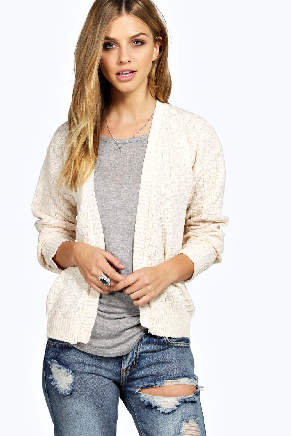 Checker Board Knit Cardigan  vanilla