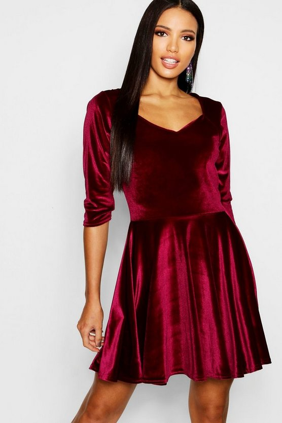 Velvet Sweetheart Neck Skater Dress