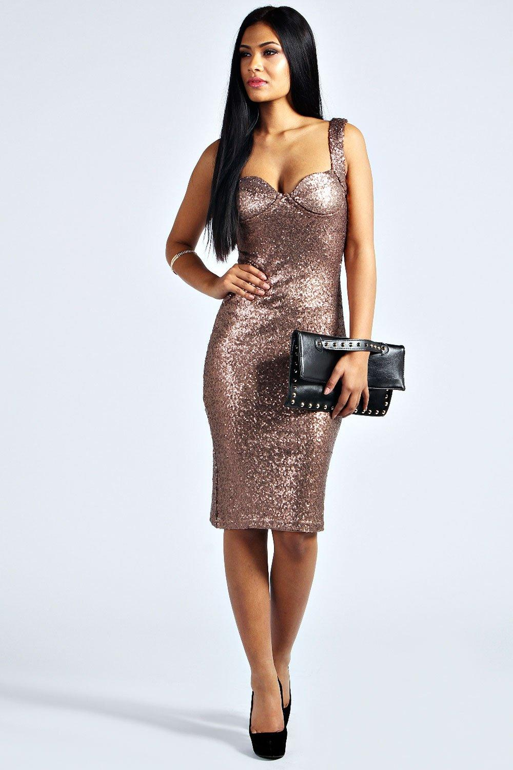 Kimmie Sequin Fitted Cups Midi Dress