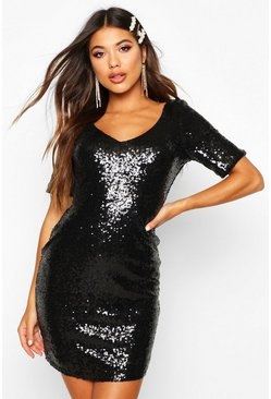 Hollie Sequin Short Sleeve Bodycon Dress