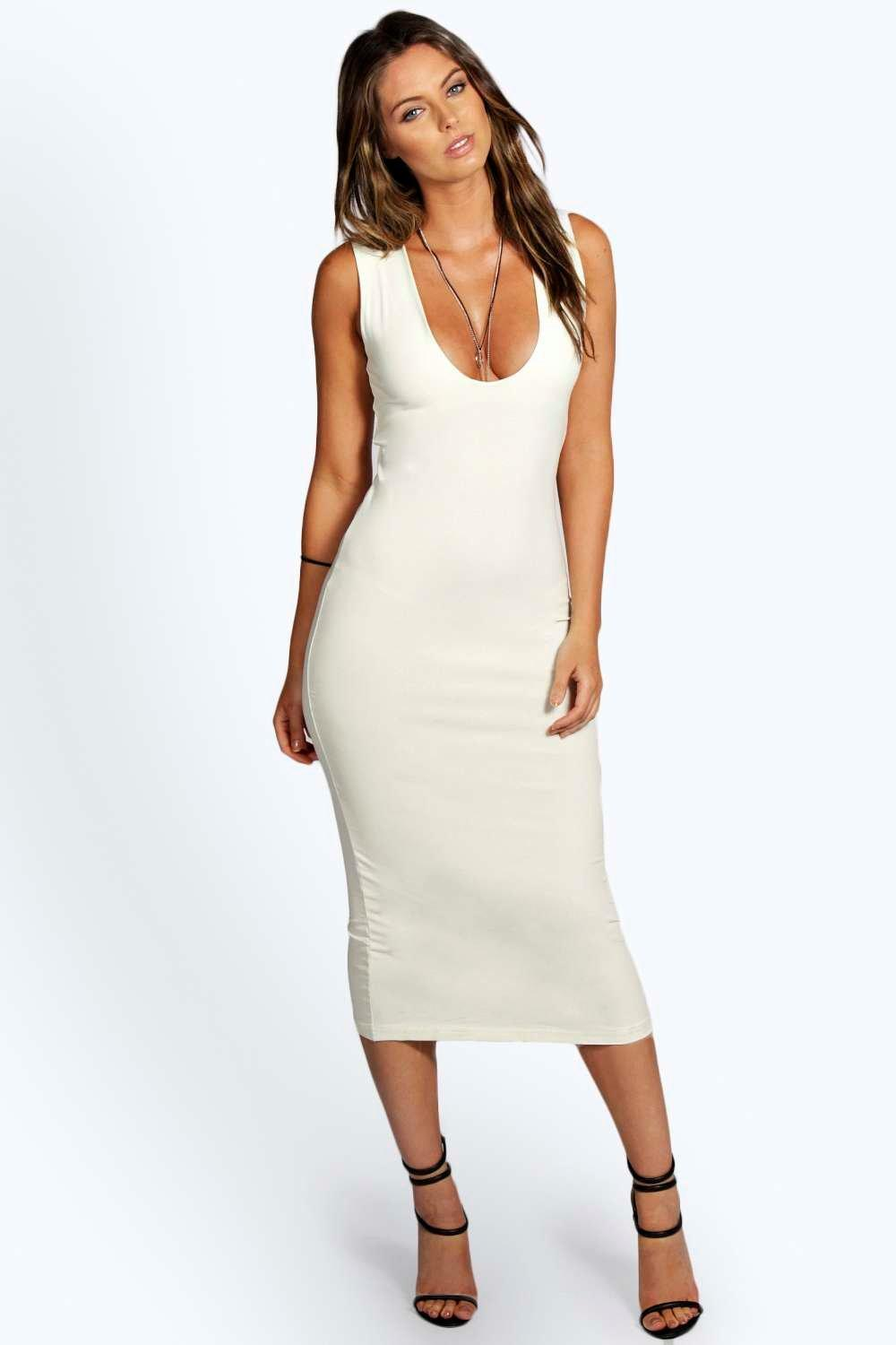 Mia Plunge Neck Bodycon Midi Dress