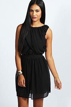 Maureen Ruched Detail Chiffon Skater Dress
