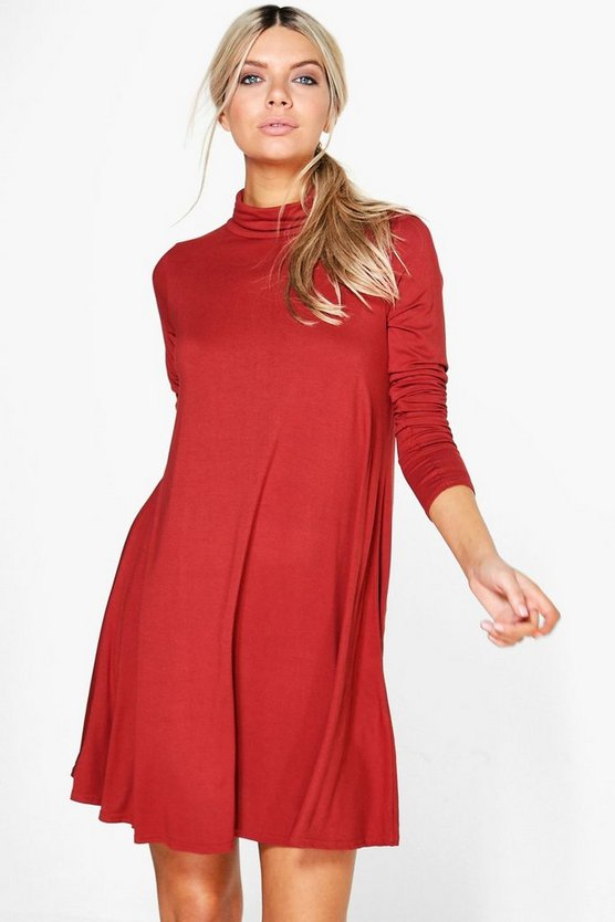 Faye Turtle Neck Long Sleeve Swing Dress