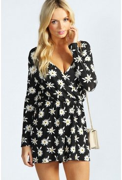 Madeline Daisy Print Jersey Playsuit