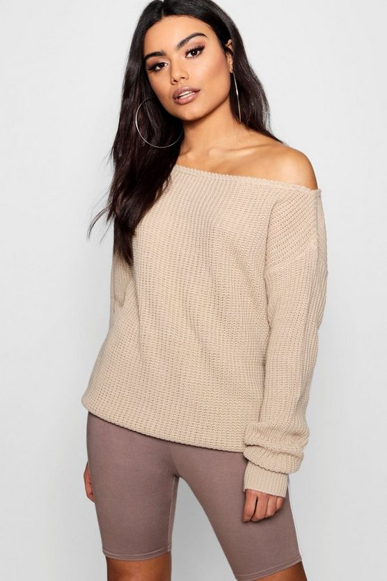 Lola Slash Neck Fisherman Jumper