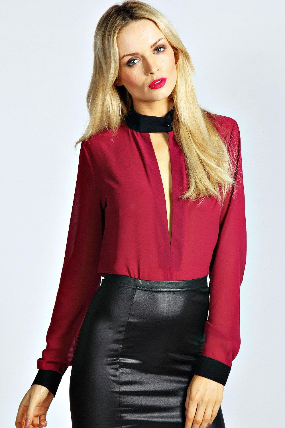 Zoe Deep Plunge Long Sleeve Blouse