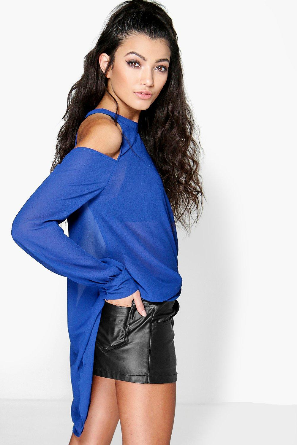 Boohoo Womens Ladies Isabelle High Neck Cut Out Shoulder Blouse