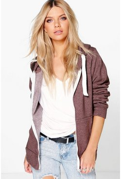 Ciara Marl Brushback Zip Through Hoody