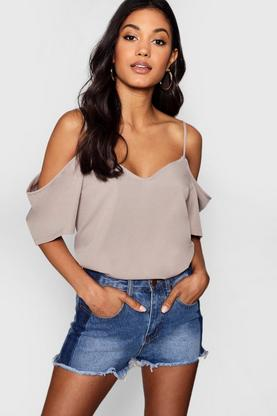 Eliza Woven Strappy Open Shoulder Blouse