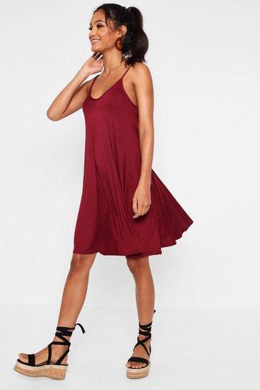 Wine Strappy Swing Dress