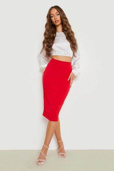 Red Basic Midi Jersey Tube Skirt