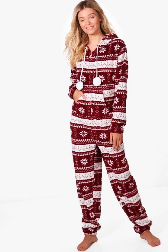 Fairisle Pom Pom Hooded Onesie