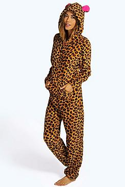 Allison Leopard Print Contrast Trim Hooded Onesie