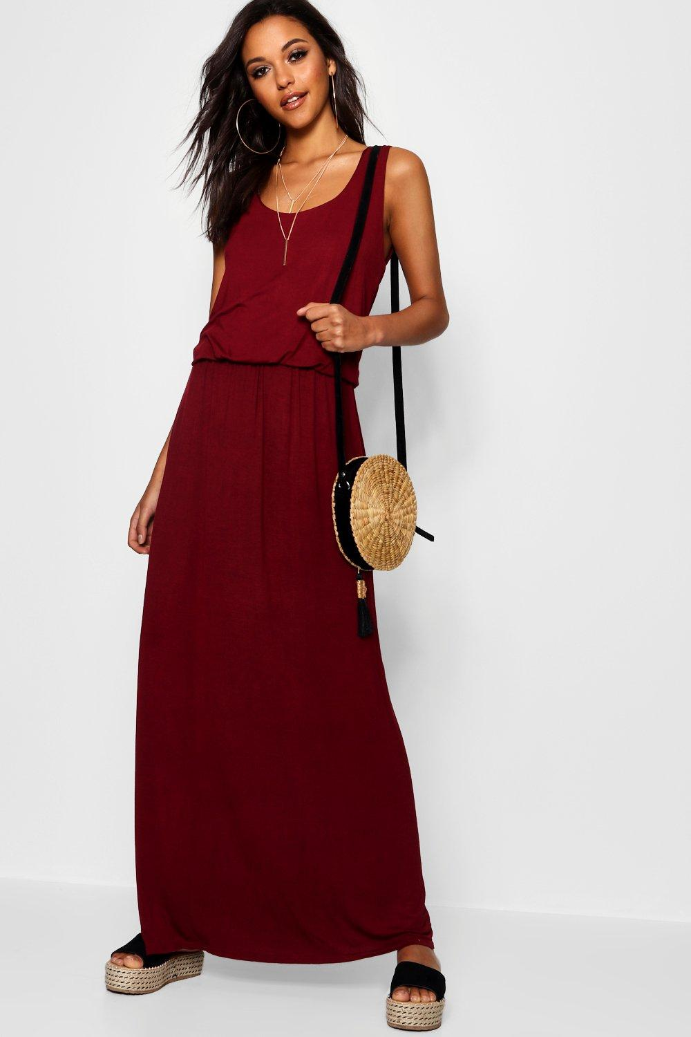 boohoo Serena Bagged Over Racer Back Maxi Dress - berry