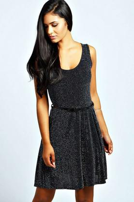 Steph Metallic Lock Belted Skater Dress