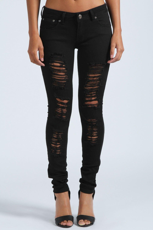 Womens Black Ripped Skinny Jeans - Xtellar Jeans