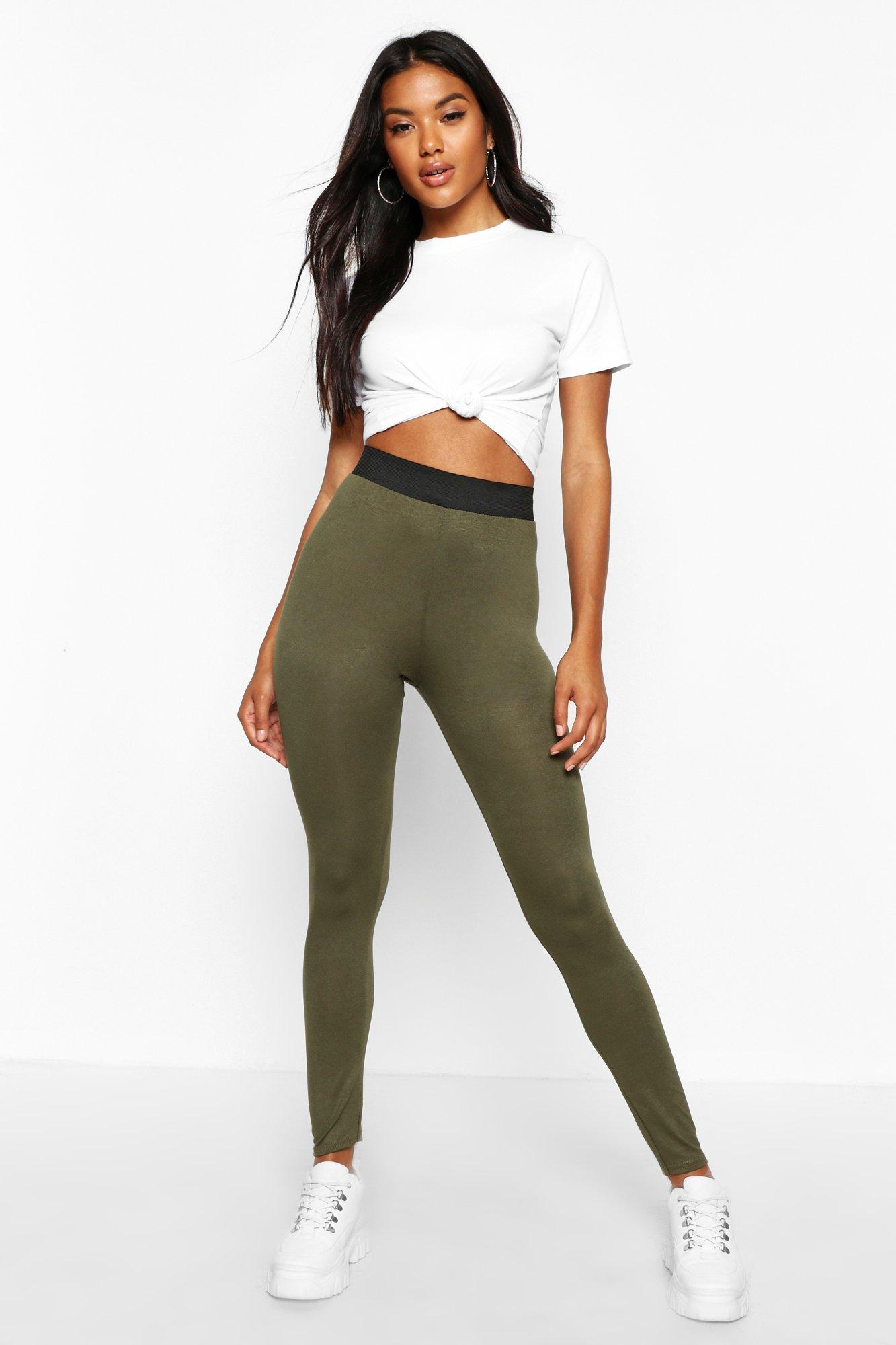Basic Contrast Waist Band Leggings khaki