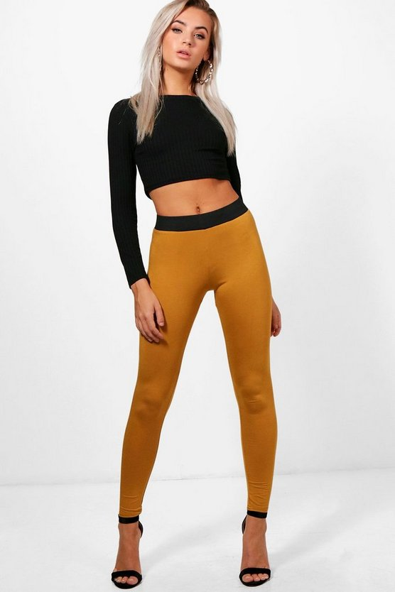 Basic Contrast Waist Band Leggings