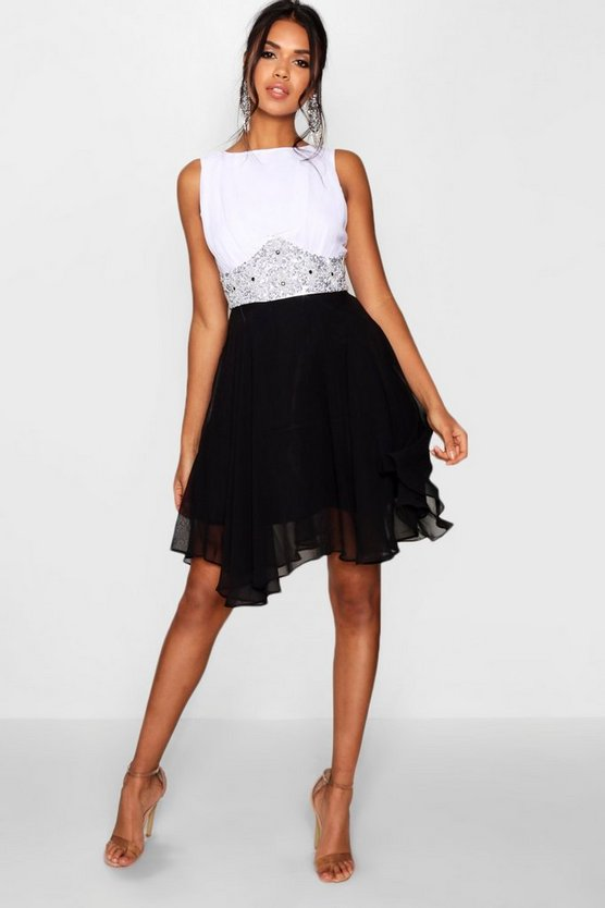 Boutique Amy Flower Detail Contrast Prom Dress