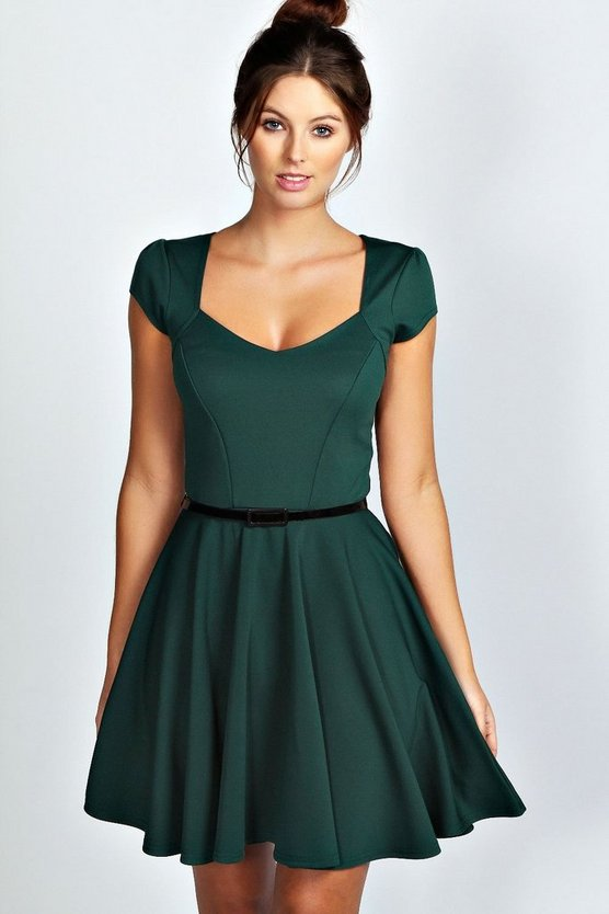 Sweetheart Neck Skater Dress