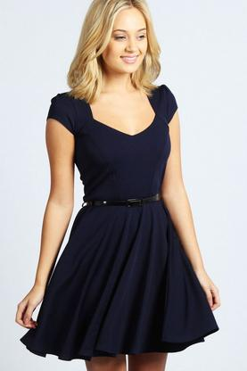 Lara Sweetheart Neck Skater Dress