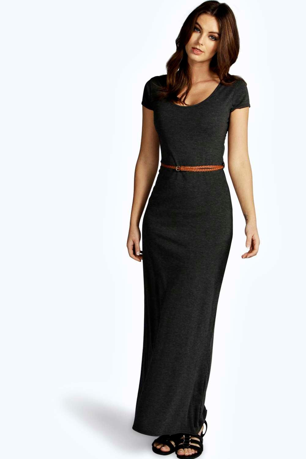 Cap sleeve belted maxi dress